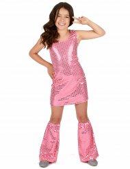 Kostume disco lyserød med pailletter til piger
