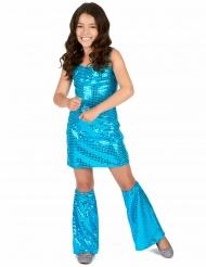Kostume Disco blå med pailletter til piger