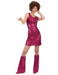 Kostume disco fuchsia med pailletter