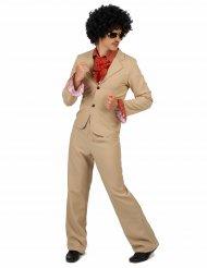 Kostume disco beige med silkedetaljer til mænd