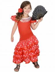 Kostume Flamenco danser Rød med hvide prikker til piger