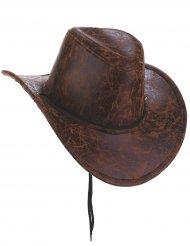 Cowboy hat i brunt imiteret læder til voksne