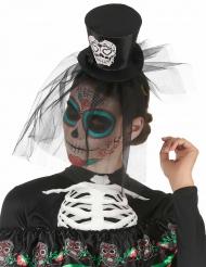 Hårbånd mini har Dia de los Muertos med slør til voksne