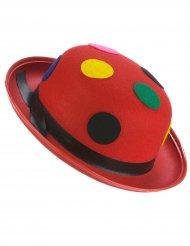 Hat bowler rød klovnehat med prikker til voksne