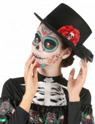 Hat høj i sort med dødningehoved og røde blomster Dia de los Muertos til voksne