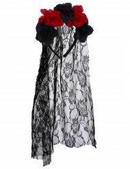 Hårbøjle med sorte og røde blomster Dia de los Muertos med tyl blonder til voksne