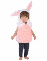 Lyserød og hvid kaninkostume til børn