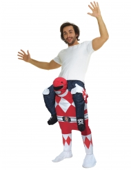 Kostume til voksne Carry Me Power Rangers™ rød Morphsuits™