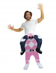Kostume til voksne Carry Me Power Rangers™ lyserød Morphsuits™