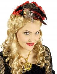 Minihat pirat rød og sort luksus til kvinder