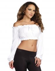 Kort hvid top med lange ærmer til kvinder