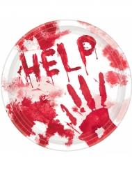 10 paptallerkener med blod Halloween 23 cm