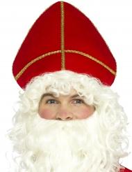 Rød hovedbeklædning Sankt Nikolaus til voksne jul