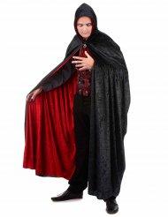 Vampyrkappe i rød og sort velour vendbar luksus til voksne