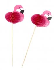 Snackpinde 12 stk. pink flamingo 17.5 cm