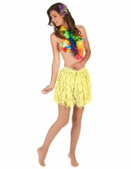 Hawaii skørt kort gult til voksne