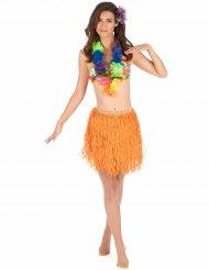 Hawaii skørt kort orange til voksne