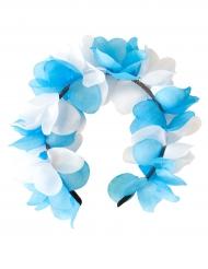 Blomster hårbånd blå og hvid