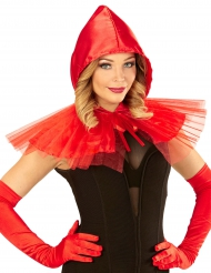Minikappe i rød med hætte til kvinder