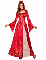 Rød middelalderkjole til kvinder