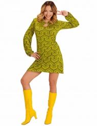 Kostume groovy grøn kjole som i 70´erne
