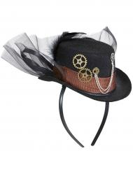 Hat med sort tyl til voksne steampunk