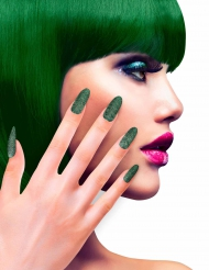 Falske negle med grøn glimmer