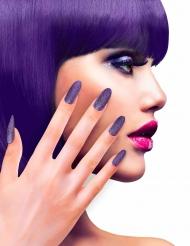 Falske negle i lilla glimmer til voksne