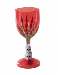 Lysende glas rød skelethånd Halloween