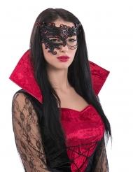 Halvmaske rød og sort med kæde til kvinde