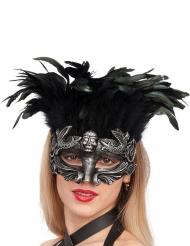 Sølvmaske med sorte fjer