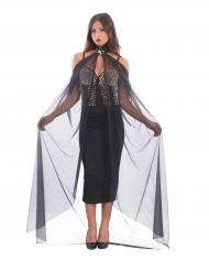 Kappe lang i sort med halskæde til kvinder