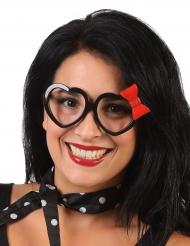Hjerteformet briller med sløjfe til voksne