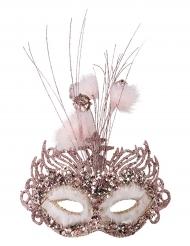 Lyserød luksus halvmaske med palietter - kvinde