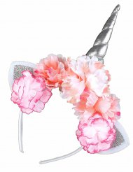 Enhjørninge hårbånd med lyserøde blomster til voksne