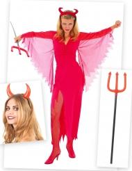 Pakke kostume djævel med horn og fork Halloween!
