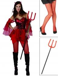 Pakke kostume djævel til kvinder med strømper og trefork Halloween