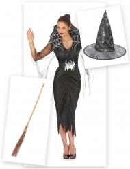 Pakke kostume edderkoppeheks med kost og hat Halloween