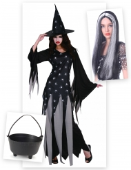 Pakke kostume heks til kvinder med gryde og paryk Halloween
