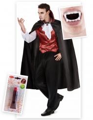 Kostume Kit vampyr til mænd med tænder og falsk blod