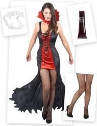 Pakke kostume vampyr til kvinder med tænder, falsk blod og strømper Halloween