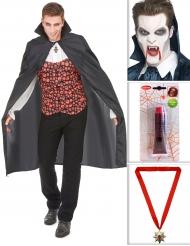 Pakke kostume vampyr med kappe, tænder, falsk blod og en medaillon Halloween