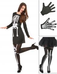 Kostume Kit skelet til kvinder med strømper og handsker Halloween