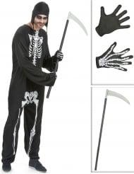 Kostume Kit skelet til mænd med le og handsker Halloween