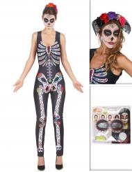 Pakke kostume Dia de los Muertos med hårbånd og sminke Halloween