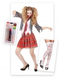 Pakke kostume skolepige zombie med falsk blod og strømper Halloween!