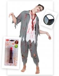 Pakke kostume zombie mand med falsk blod og sminke Halloween