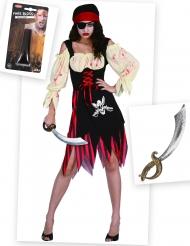 Pakke kostume zombiepirat med falsk blod og sværd Halloween