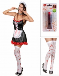 Kostume Kit stuepige zombie med strømper og falsk blod Halloween