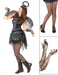 Pakke kostume gotisk engel med strømper og handsker Halloween